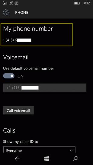 Как посмотреть свой номер телефона на Windows 10 Mobile
