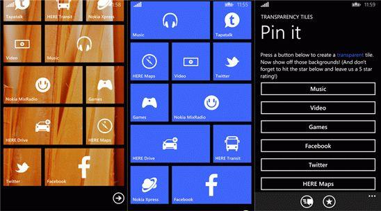 Transparency Tiles – прозрачные плитки для Windows Phone