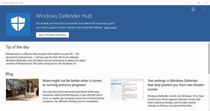 Windows Defender Hub для windows 10